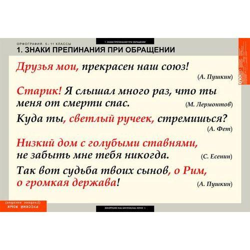 Комплект таблиц Русский язык. Орфография. 5-11 классы