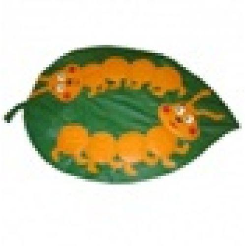 Детский игровой коврик «Лист с гусеничками»