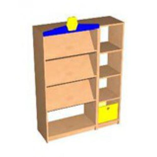 Стеллаж Книжный с желтым ящиком и козырьком