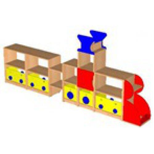 Стеллаж Паровозик Томас 1 с ящиками