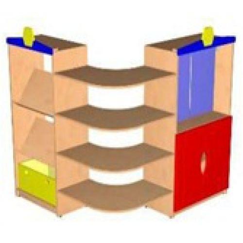 Стеллаж Угловой с фасадами ДСП бук, с ящиком и козырьками