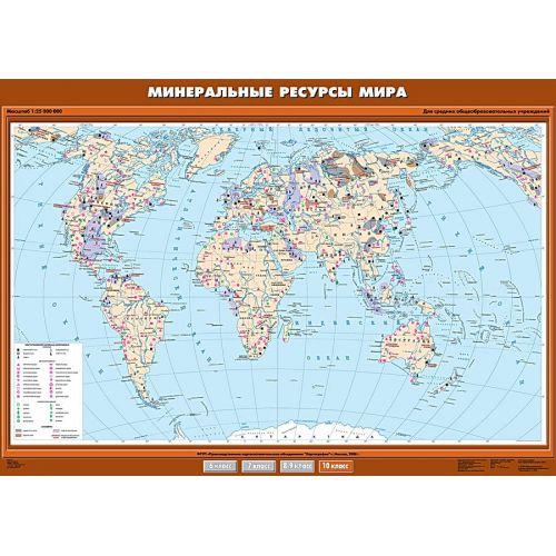 Учебная карта. Минеральные ресурсы мира 100х140