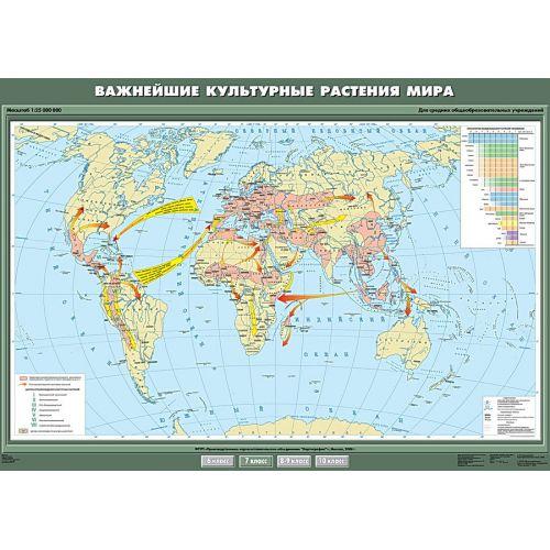 Учебная карта. Важнейшие культурные растения мира 100х140