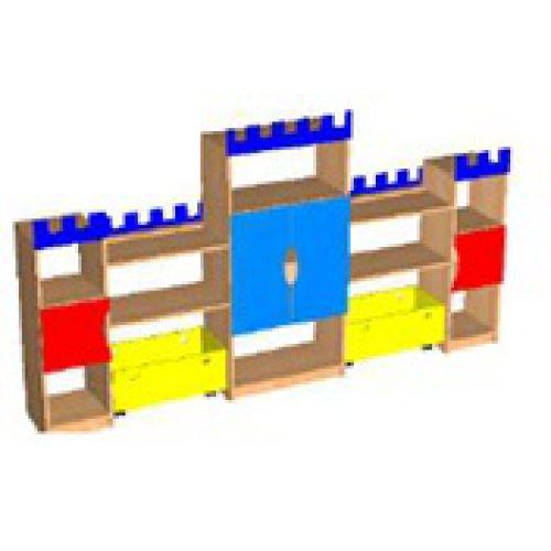 Стеллаж Замок цвет, с ящиками и козырьками