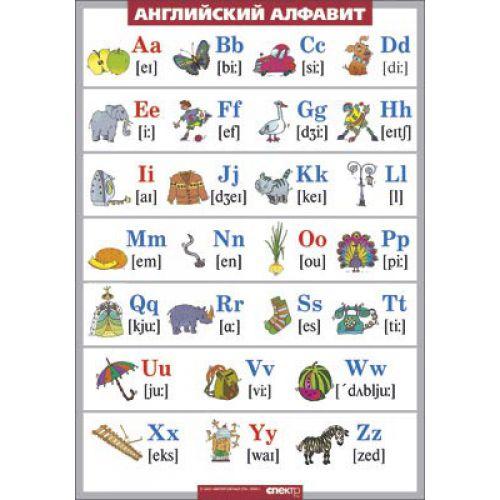 Таблица виниловая. Английский язык. Английский алфавит в картинках (с транскрипцией) (100x140)
