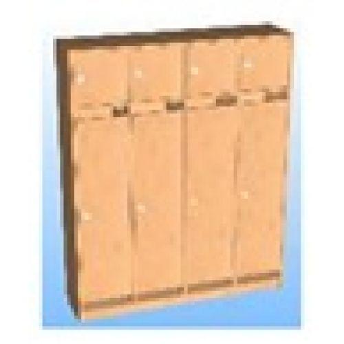Шкаф д/одежды 4-х секционный фасад прямой с антресолью бук