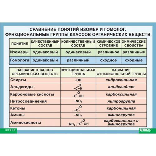 Сравнение понятий изомер и гомолог. Функциональные группы классов органических веществ