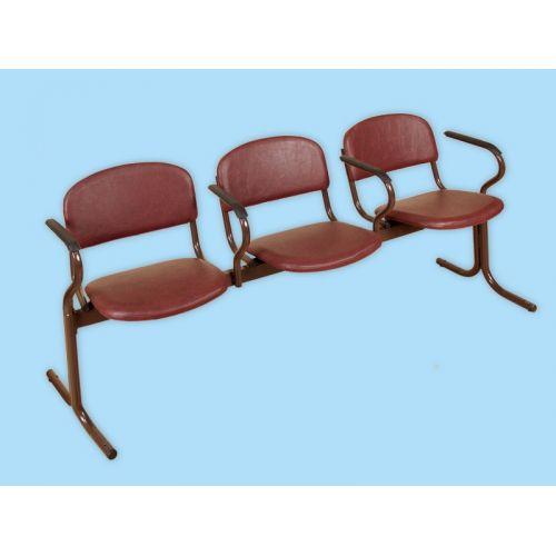 Блок стульев 3-х местный с подлокотниками. Откидные сиденья.